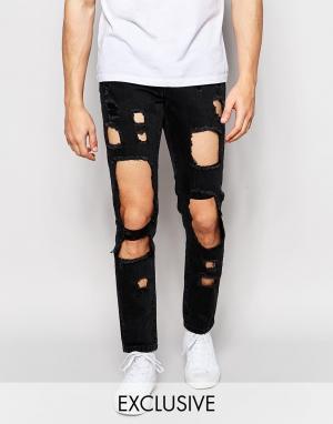 Brooklyn Supply Co. Черные зауженные джинсы с вырезами Co. Цвет: черный