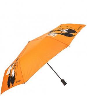 Оранжевый складной зонт с восьмью спицами FLIORAJ. Цвет: оранжевый