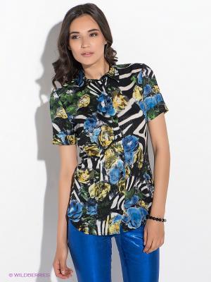 Блузка GUESS. Цвет: черный, синий, желтый