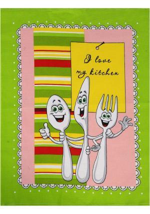 Набор кухонных полотенец (3 шт.). Цвет: зеленый (зеленый с рисунком)