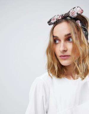 ASOS Повязка на голову с цветочной вышивкой и бантом. Цвет: мульти