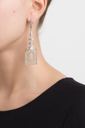 Серебряные серьги с жемчугом и голубыми топазами «Москва слезам не верит» Axenoff Jewellery. Цвет: серебряный, голубой