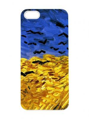 Чехол для iPhone 5/5s Ван Гог - Пшеничное поле с воронами Chocopony. Цвет: желтый, черный, синий