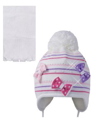 Шапка; шарф Ambra. Цвет: белый