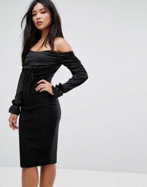 Vesper Платье миди с открытыми плечами и присборенными вставками. Цвет: черный