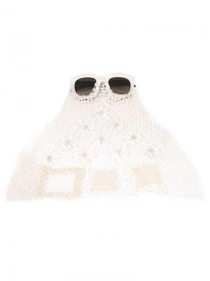 Солнцезащитные очки с кружевом Kuboraum. Цвет: белый