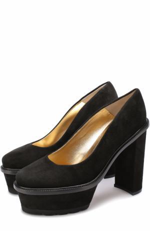 Замшевые туфли Izel на массивном каблуке и платформе Walter Steiger. Цвет: черный