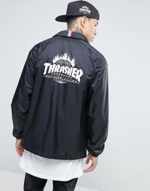 HUF Спортивная куртка с принтом на спине x Thrasher. Цвет: черный