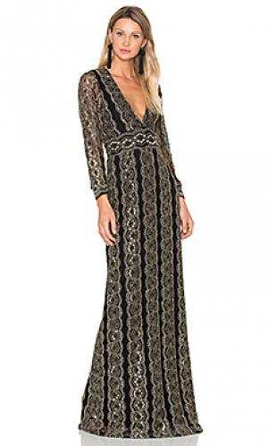 Кружевное вечернее платье moroccan Nightcap. Цвет: металлический золотой