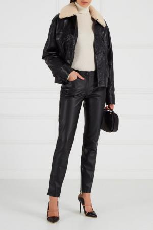 Кожаные брюки с молниями Maison Bohemique. Цвет: черный
