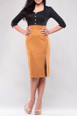 Платье MAURINI. Цвет: черно-горчичный