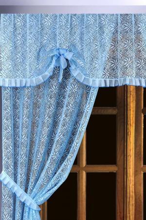 Комплект штор для кухни Злата Корунка. Цвет: голубой