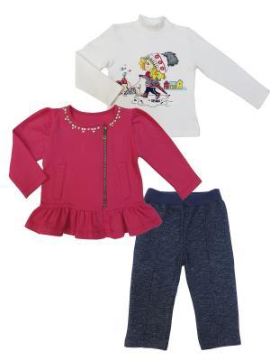 Комплект (водолазка+толстовка+брюки), Прогулка с Мими Sonia kids. Цвет: белый, розовый, темно-синий