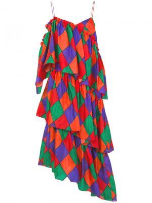 Ярусное платье Isa Arfen. Цвет: красный