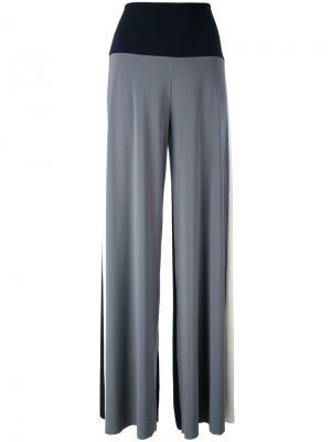 Трехцветные брюки-палаццо Norma Kamali. Цвет: синий