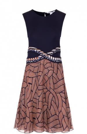 Приталенное платье без рукавов с ярким принтом Diane Von Furstenberg. Цвет: разноцветный
