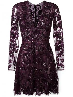Декорированное кружевное платье мини Zuhair Murad. Цвет: розовый и фиолетовый