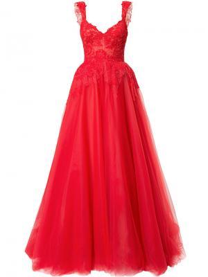 Вечернее платье с пышной юбкой в пол Monique Lhuillier. Цвет: красный