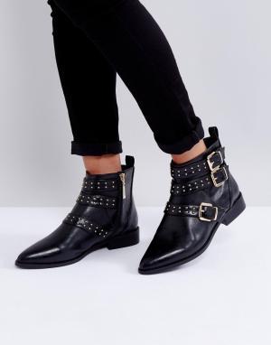 Miss KG Ботинки с заклепками и пряжками. Цвет: черный