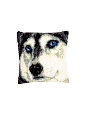Набор для вышивания лицевой стороны наволочки Хаски 40*40см Vervaco. Цвет: белый, голубой, серый, черный