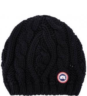 Шерстяная шапка с косами Canada Goose. Цвет: синий