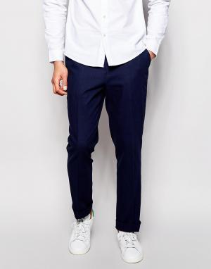 ASOS Строгие брюки узкого кроя из саржи. Цвет: темно-синий