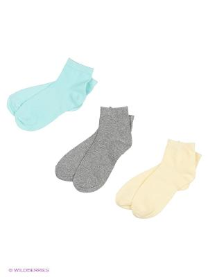 Носки, 3 пары Oodji. Цвет: серый, голубой, светло-желтый