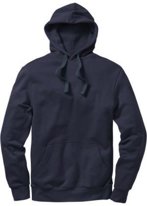 Толстовка стандартного прямого кроя regular fit с капюшоном (темно-синий) bonprix. Цвет: темно-синий