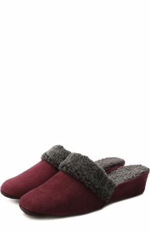 Замшевые домашние туфли с внутренней отделкой из овчины Homers At Home. Цвет: бордовый
