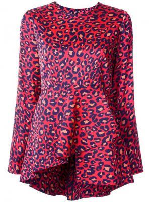 Блузка с леопардовым принтом Goen.J. Цвет: красный