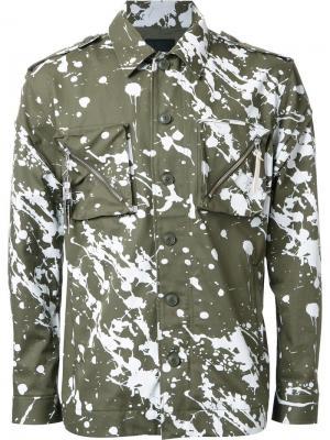 Куртка с эффектом брызг краски Yoshio Kubo. Цвет: зелёный
