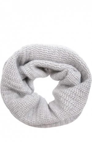 Вязаный шарф-снуд из смеси кашемира и шелка Colombo. Цвет: светло-серый