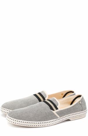 Текстильные эспадрильи на резиновой подошве Rivieras Leisure Shoes. Цвет: серый