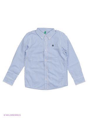 Рубашка United Colors of Benetton. Цвет: синий, белый