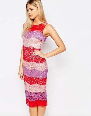 Paper Dolls Кружевное платье‑футляр колор блок. Цвет: мульти