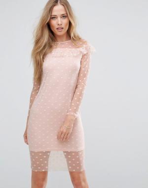 Parisian Сетчатое платье с оборкой. Цвет: розовый