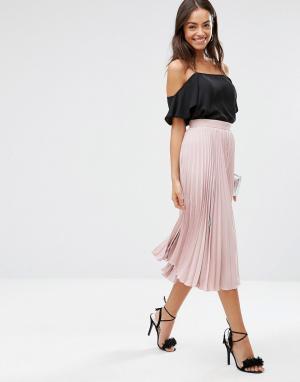 Closet London Плиссированная юбка миди. Цвет: розовый
