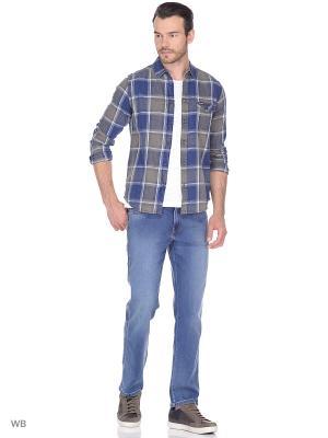 Рубашка 1PKT Wrangler. Цвет: синий, серый