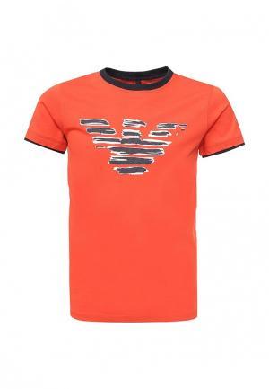 Футболка Armani Junior. Цвет: оранжевый
