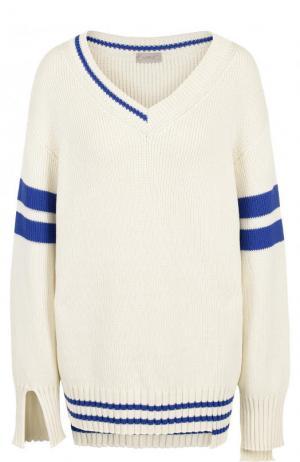 Пуловер свободного кроя с V-образным вырезом MRZ. Цвет: белый