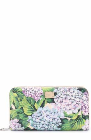 Кожаное портмоне на молнии с принтом Dolce & Gabbana. Цвет: кремовый
