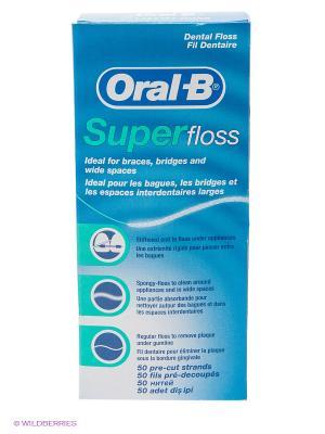 Зубная нить, Super floss, 50 нитей ORAL_B. Цвет: голубой