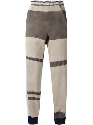 Спортивные брюки колор-блок Longjourney. Цвет: телесный