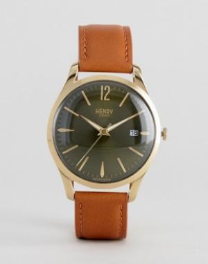 Henry London Часы со светло-коричневым кожаным ремешком Chiswick. Цвет: рыжий