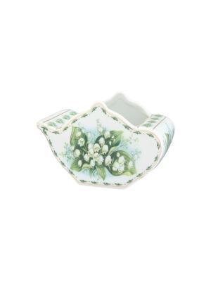 Подставка  для чайных пакетиков Ландыши Elan Gallery. Цвет: белый, зеленый