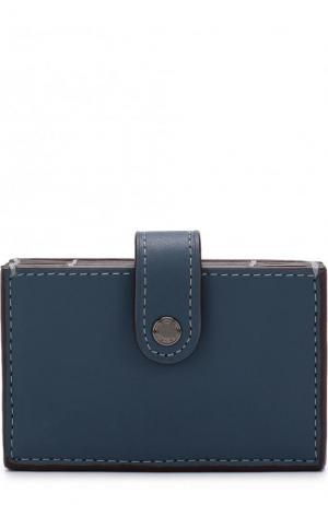 Кожаный футляр для кредитных карт Coach. Цвет: синий