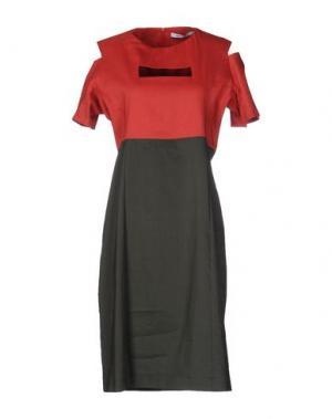 Платье до колена OBLIQUE CREATIONS. Цвет: кирпично-красный