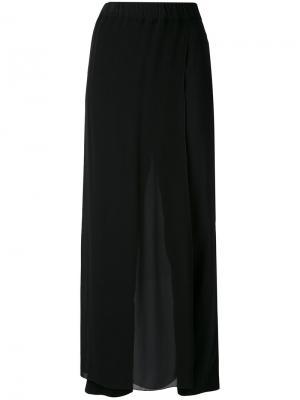 Укороченные двухслойные полупрозрачные брюки Jucca. Цвет: чёрный