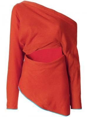 Драпированный топ на одно плечо Richard Malone. Цвет: жёлтый и оранжевый