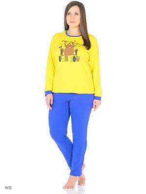 Домашний костюм ( кофта, брюки) HomeLike. Цвет: синий, желтый